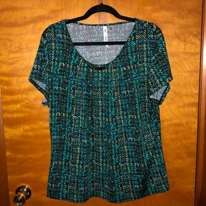 NY Collection Green Patterned Top